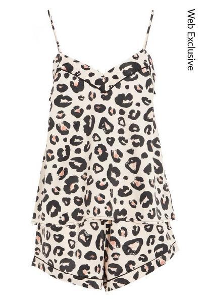 Brown Leopard Print Satin Pyjama Set